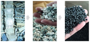 Recycled post-consumer products are broken down to create new products.
